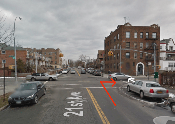 Last March a driver fatally struck Xiali Yue while making a right turn at 21st Avenue and Cropsey Avenue in Brooklyn, where visibility is limited by parked cars. Image: Google Maps