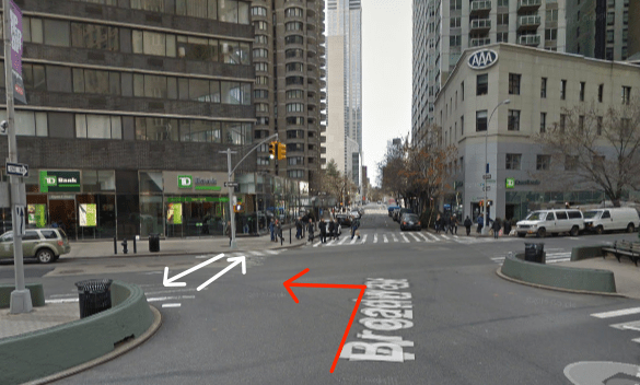 A driver turning left fatally struck Moshe Grun as he crossed Broadway at W. 62nd Street, where motorists are required by law to yield to pedestrians. The white arrows represent Grun's path through the intersection — it is unknown if he was walking east or west — and the red arrow indicates the path of the driver. Image: Google Maps