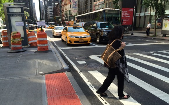Third Avenue at 57th Street has a new bus stop and a new block-long pedestrian island. Photo: Stephen Miller