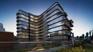 The city's rules allow buildings like this to exceed Manhattan parking regulations. Rendering: Related Companies and Zaha Hadid Architects