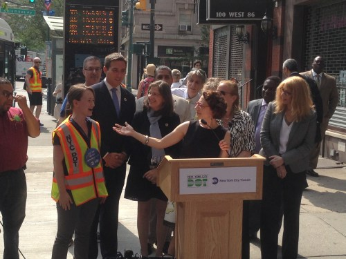 Transportation Commissioner Polly Trottenberg and other officials at today's M86 Select Bus Service launch on the Upper West Side. Photo: Ken Coughlin