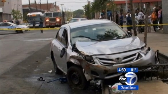 This driver jumped the curb, hit a wall, two pedestrians, a livery cab and a tree, killing one person and injuring several others. NYPD filed no charges. Image: WABC