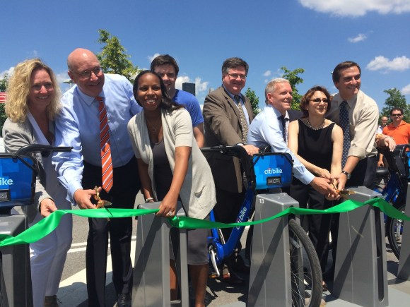 Elected officials, transportation chiefs, and Citi Bike investors were all smiles at the launch of Citi Bike's first-ever expansion station. Photo: Stephen Miller