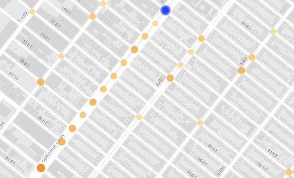 Injury crashes along Third Avenue this year, with the site of Wednesday's fatal collision indicated by the blue dot. Image: Vision Zero View
