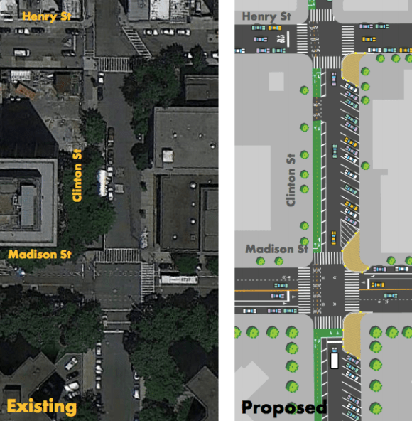 Cinton Street is getting a two-way bikeway and painted curb extensions. Image: DOT [PDF]