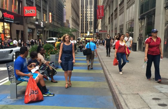 This pedestrian space could be replaced with loading zones. Photo: Stephen Miller