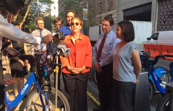 Manhattan Borough President Gale Brewer at the first Citi Bike station on the Upper East Side. Photo: NYC DOT