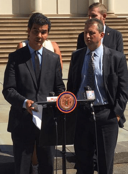 Ydanis Rodriguez, with Council Member Brad Lander at right, outside City Hall today. Photo: @ydanis