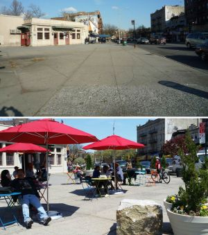 Parkside Plaza, before and after. Photos courtesy In Cho