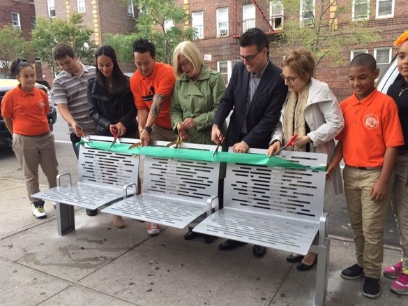 DOT officials and others with CityBench number 1,500, at MS 22 in the Bronx. Photo: DOT