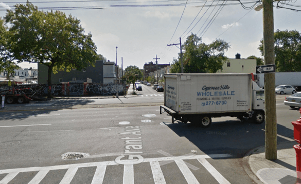 Atlantic Avenue at Grant Avenue, when a driver killed 70-year-old Helen Marszalek. The nearest crosswalks are a block in either direction. Image: Google Maps