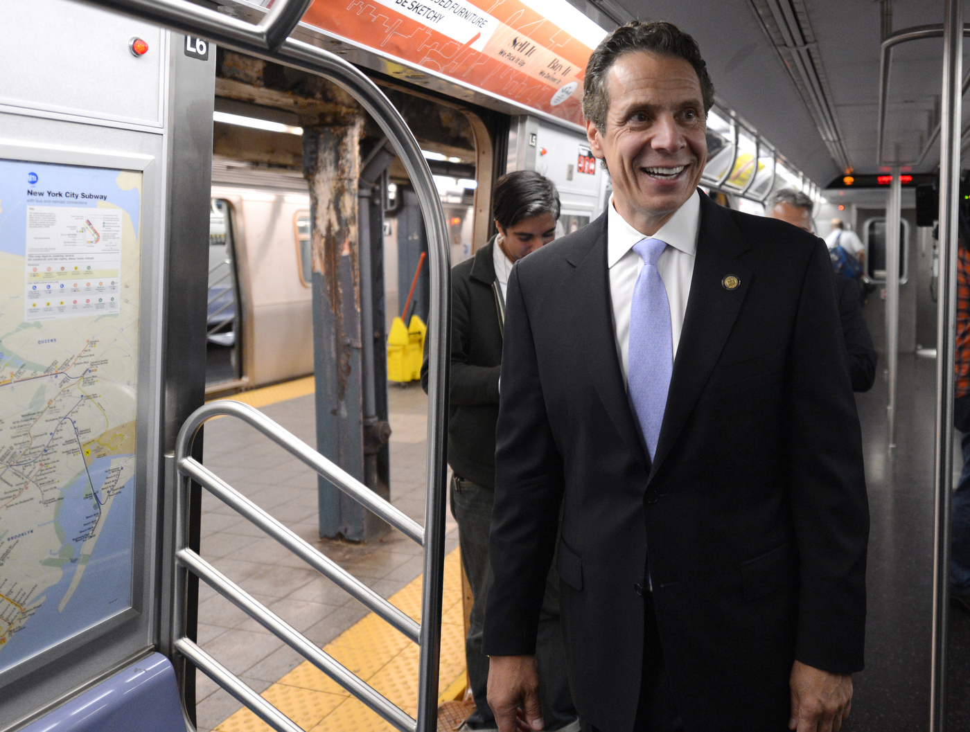 New York Governor Andrew M. Cuomo and MTA Chairman and CEO Thomas Prendergast rode an E train from Chambers St. to 34 St.-Penn Station on Thu., September 25, 2014 to assure New Yorkers that all security precautions are being taken, and that the subway system is safe amid reports of unspecified threats. Photo: Marc A. Hermann / MTA New York City Transit