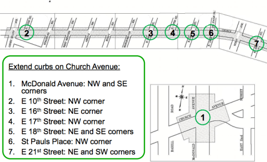 Pedestrian safety improvements along Church Avenue, originally proposed in 2013, do not even have a timeline for construction. Image: DOT