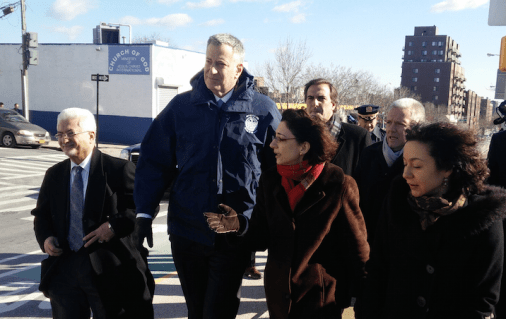 This morning, Mayor Bill de Blasio toured the recently-redesigned Queens Boulevard with DOT Commissioner Polly Trottenberg.