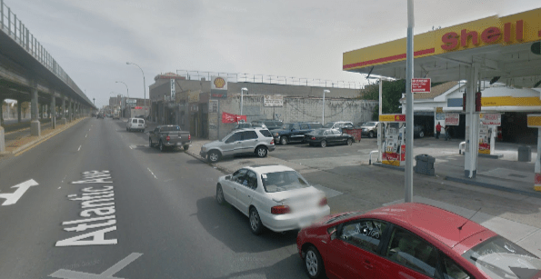 Atlantic Avenue location where a school bus driver fatally struck Gwendolyn Booker on the sidewalk last Friday. Image: Google Maps