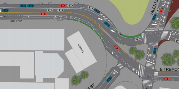 DOT's redesign includes a short stretch of protected bike infrastructure between Anthony and Valentine Avenues. Image: DOT