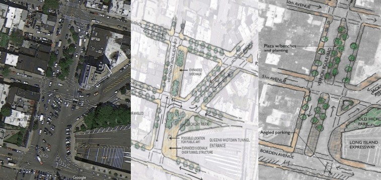 Both possible designs for the Vernon-Jackson pedestrian hub would move parking spaces to Borden Avenue in order to improve pedestrian access to the park and plaza located at the intersection. Image: DDC/DOT/Parsons