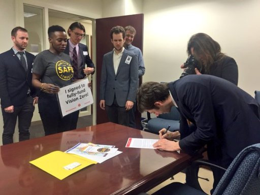 Stephen Levin (right) was one of thirteen council members to sign onto TA's pledge to fully fund Vision Zero projects in 2016. Photo: Kristen Miller