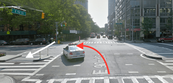 The driver of a private sanitation truck fatally struck Jodi McGrath at First Avenue and E. 92nd Street. The red arrow indicates the path of the driver, and the white arrow shows the path of the victim. Image: Google Maps