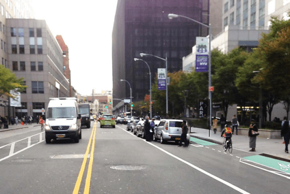 DOT will present its proposal for protected bike lanes on Jay and Smith Streets in downtown Brooklyn to tonight's CB 2 transportation committee meeting. Image: DOT