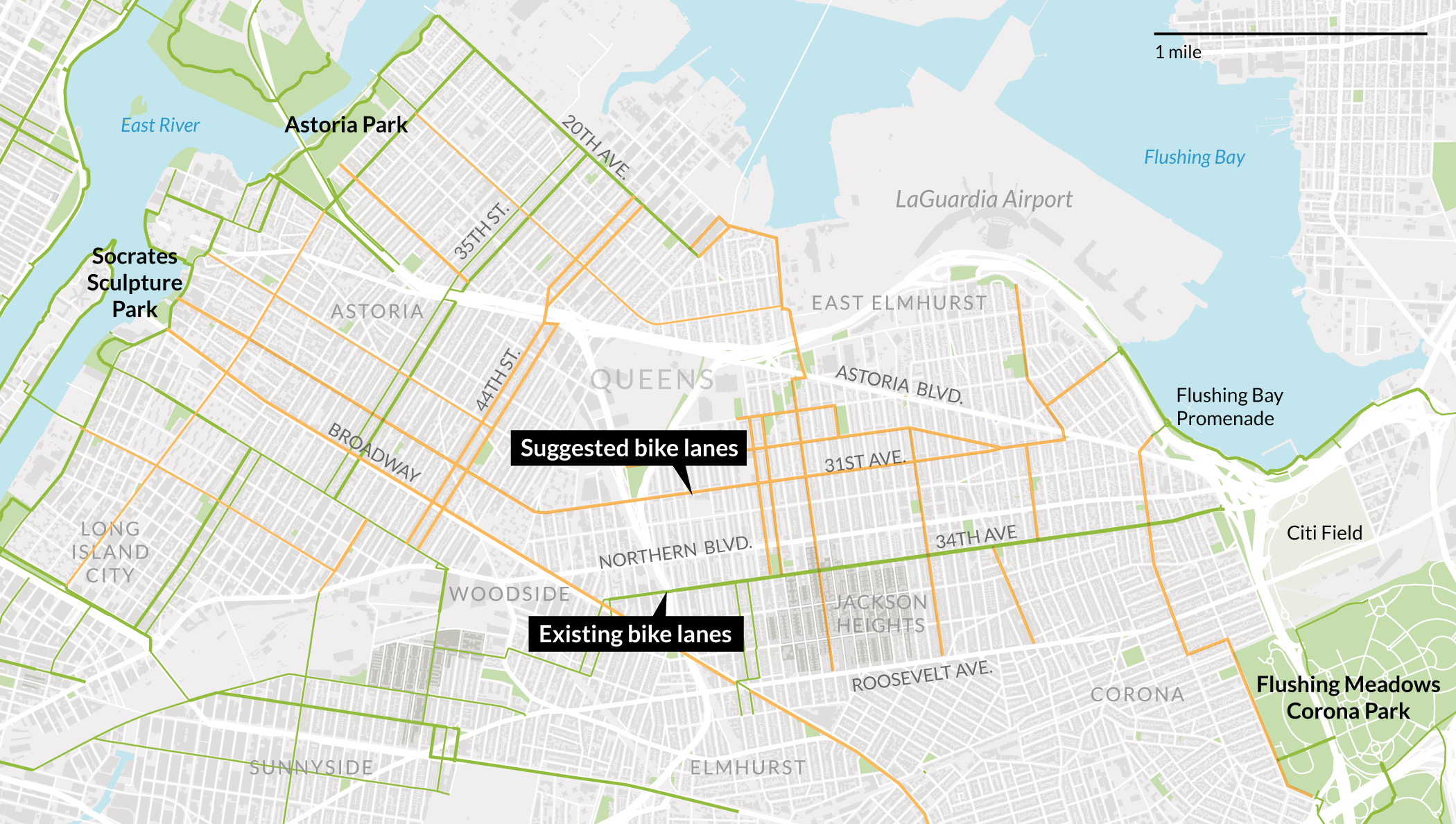 DOT Proposes EastWest Bike Route On St Ave In Queens - Nyc queens map pdf