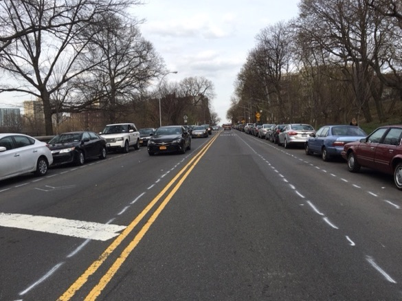 DOT is replacing two 4-foot bike lanes on Seaman Avenue with one 5-foot bike lane and sharrows. Photos: Brad Aaron