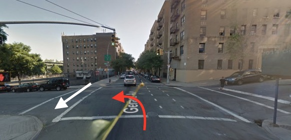 E. 164th Street at Gerard Avenue. The white arrow indicates the path of Mariam and her family, and the red arrow indicates the path of the driver, according to NYPD's account of the collision. Image: Google Maps