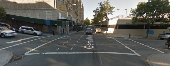 E. 164th Street and Gerard Avenue, where a driver killed a 3-year-old this morning. Image: Google Maps
