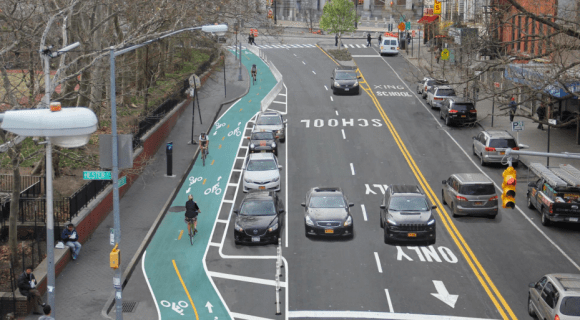 DOT's rendering of the two-way protected bike lane slated for Chrystie Street in the fall.