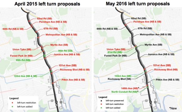 DOT has significantly reduced the number of left turn bans in the Woodhaven Boulevard Select Bus Service project. Image: DOT