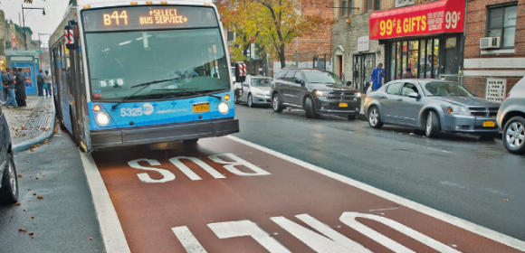 Select Bus Service on Nostrand Avenue includes dedicated bus lanes and off-board fare collection. Photo: DOT/MTA