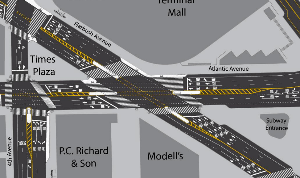 DOT's proposal would remove double-right turns off Atlantic Avenue. Image: DOT