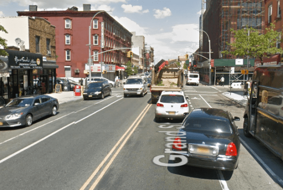 The bike lane on Grand Street, where Matthew von Ohlen was killed last month, fails to keep cyclists safe from motor vehicles. Photo: Google Maps