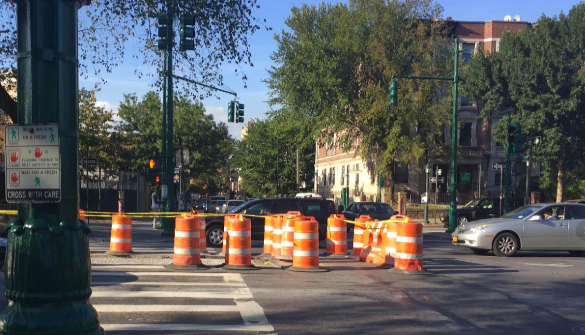 Pedestrian islands on Eastern Parkway barely lasted nine months before DOT ripped them up, and no one in the de Blasio administration will say why. Photo: David Meyer
