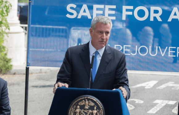 Mayor de Blasio speaking at yesterday's press conference. Photo: Flickr/NYC Mayor's Office