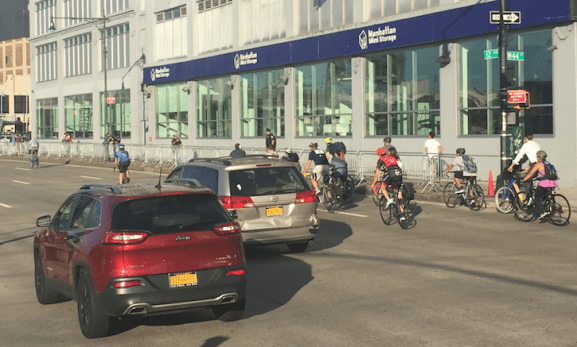 Forced off the greenway, these brave cyclists took to the West Side Highway. Photo: David Meyer