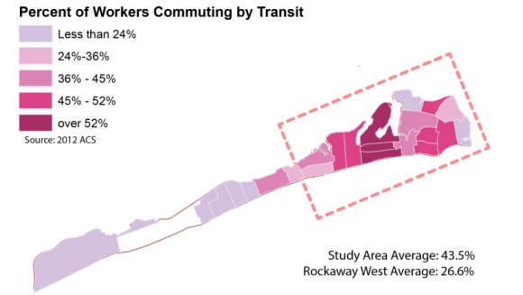 In some parts of Far Rockaway, the majority of residents commute to work by public transit. Image: DOT