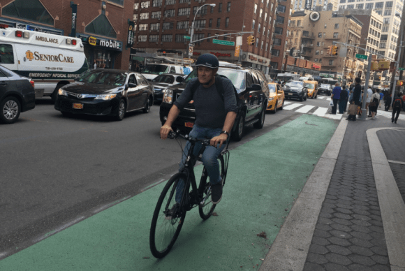 Riding on Fourth Avenue between 14th and 15th Streets. Photo: David Meyer