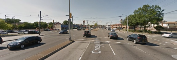 A driver hit two teenagers, killing 13-year-old Jazmine Marin, at Cross Bay Boulevard at 149th Avenue in Ozone Park this morning. NYPD filed no charges against the driver and blamed the victims in the press. Image: Google Maps