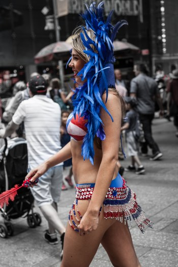 Red, White and Blue in Times Square