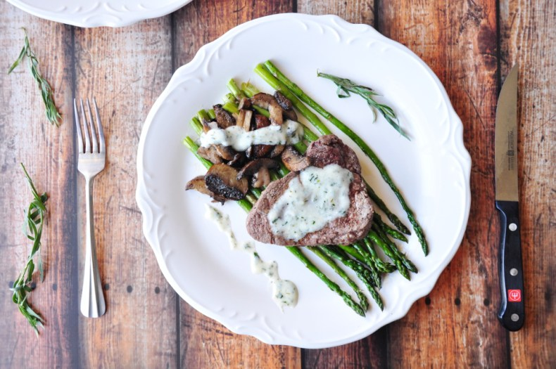 30-Minute Perfectly Broiled Steak and Vegetables with Bearnaise