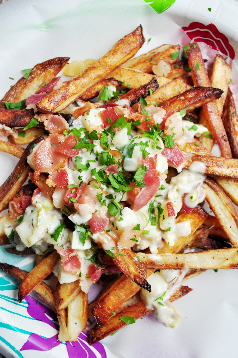 Baked French Fries with Chowder and Bacon