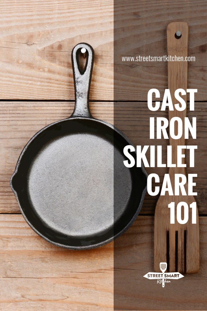 Everything you need to know about cast iron skillet care including seasoning a raw skillet, cleaning and re-seasoning, preventing it from smoking, and more!
