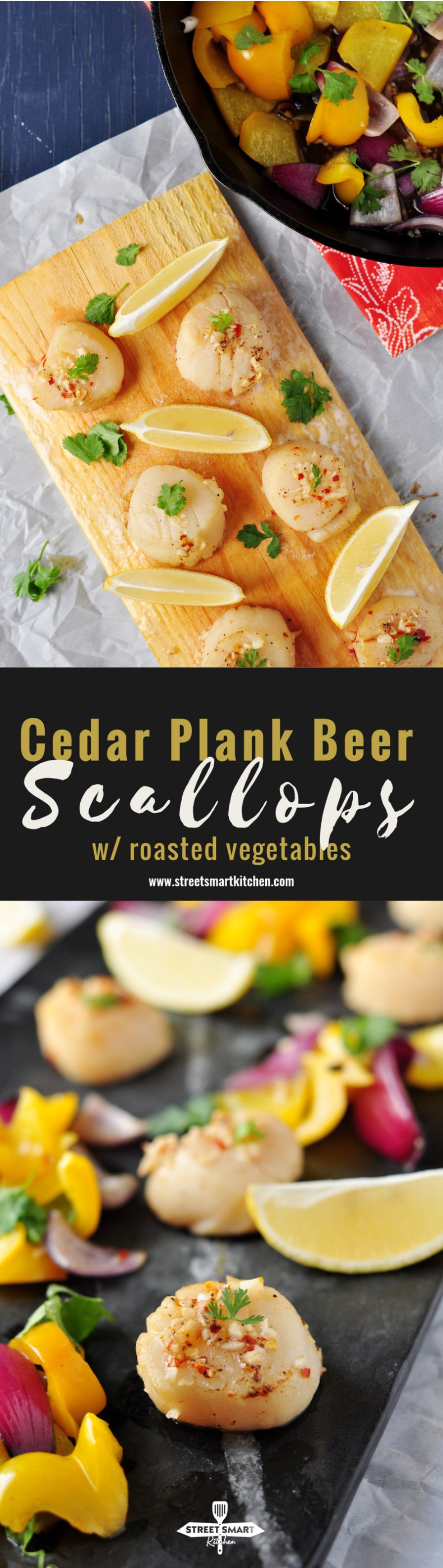 Scallops marinated in a seasoned beer mixture, grilled on a cedar plank that's soaked in beer along with onions and bell peppers in the same marinade, this cedar plank beer scallops recipe makes a wonderful weekday dinner. Or, open a bottle of good wine to pair with it, and suddenly, you've got a fabulous date night dinner. Date night in is the best kind of date, in my opinion. :)