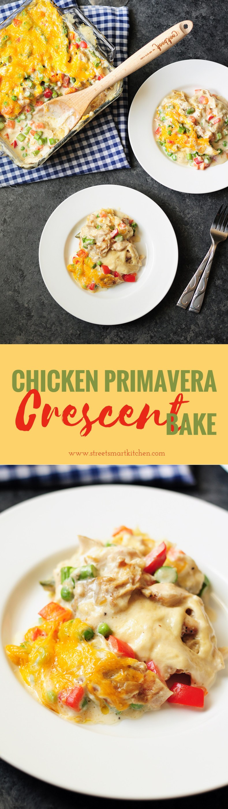 Chicken Primavera rolled up in crescent rolls and covered with a delicious layer of creamy vegetables, this crescent bake is not your average casserole!