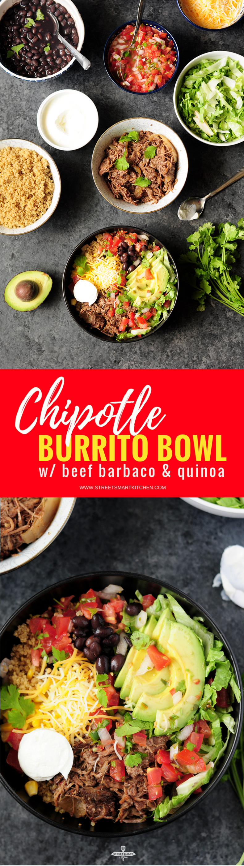 Recreate a healthy Chipotle burrito bowl in your own kitchen in just 15 minutes with slow cooker beef barbacoa and quinoa.