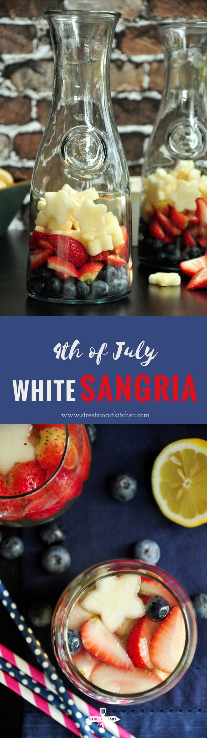 Strawberries, pears, and blueberries boasted by Moscato, tonic water, lemon juice and a gentle touch of gin makethe perfect white sangria for 4th of July!