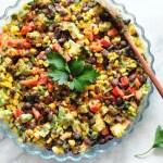 Corn and Black Bean Salad with Garlic Lemon Aioli