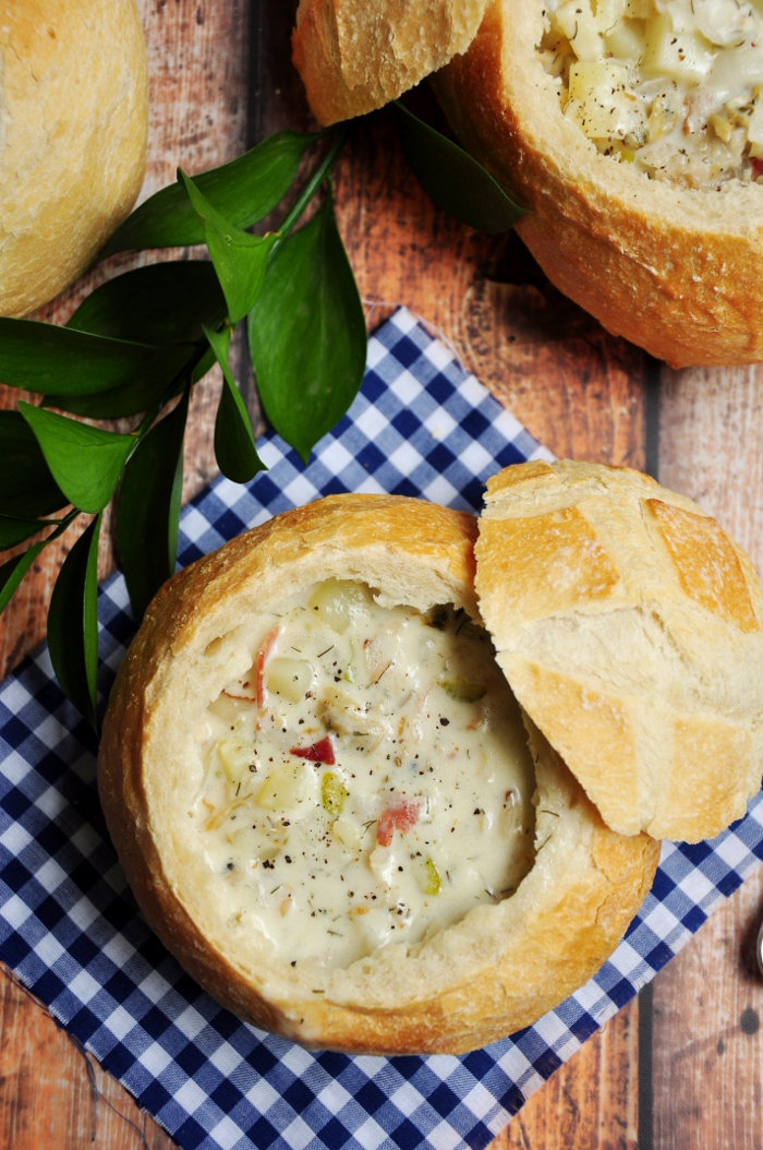 This authentic New England Clam Chowder recipe was recreated after a trip to Boston. Serve it in a bread bowl to make it extra comforting and hearty!