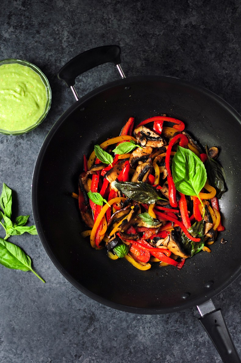 20-minute vegetarian tacos with bell peppers and portobello mushrooms cooked in a savory citrus sauce. This is a great meatless meal to include in your weekly meal plan.